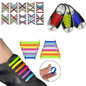 16pcs set Lazy Elastic Silicone Shoelaces Colorful No Tie Running Sneakers Strings Shoe Laces Shoes Accessories For Men Women