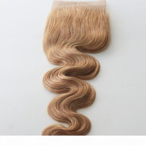 13x4 Brazilian Lace Frontal Closure 27# Bleached Blonde Human Virgin Hair Body Wave Bleached Knots Free Part