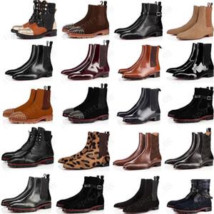 novo estilo fundo vermelho da sapatilha homens inicialização picos de camurça de couro vermelho homens únicos sapatos super-perfeito melão Motorcycle ankle boot para os homens