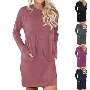 2020 Autumn and winter hot new style Women's Hoodies & Sweatshirts Plus size Loose mid-length solid color pocket dress