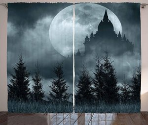 Halloween Curtains Magic Castle Silhouette Over Full Moon Night Fantasy Landscape Scary Forest Living Room Bedroom Window Drapes
