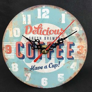DAVEVY Wooden Wall Clock Vintage European Style Decorative Retro Kitchen Home Vintage Chic Rustic