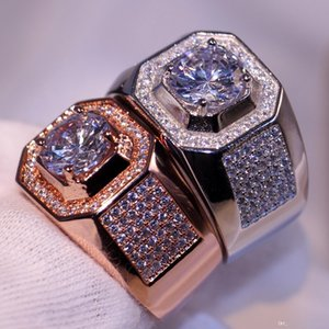 Luxury Jewelry choucong Brand Desgin 10kt White &Rose Gold Filled Pave Setting Party CZ Diamond Topaz Wedding Band Ring Gift Size 8-13