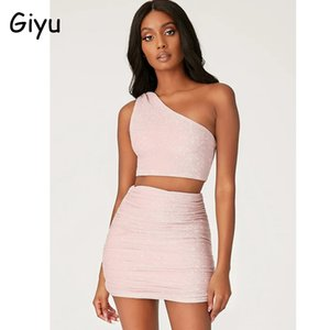 Giyu Sexy Glitter faísca 2 Piece Set Mulheres Moda de um ombro Top Saia Bodycon Mini Two Piece Define Club Party Treino
