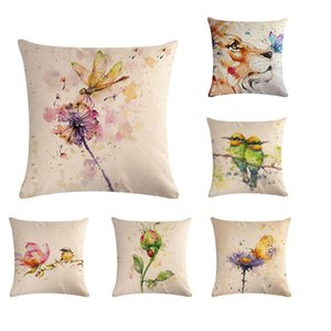 Animals Plant Watercolor Art Painting Fine Flamgoing Lion Kingfisher Birds Flower Cushion Cover Sofa Throw Pillow Case Cojines