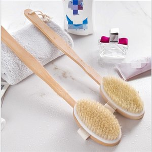 new Natural Long Wooden Bristle Brush Massager Bath Shower Back Spa Scrubber Bath Brushes Bathroom Supplies T2I51474