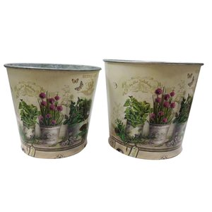 Round Iron Vase Wholesale Pastoral style table centrepieces easter Vase planter home Decoration iron tub