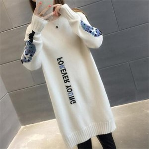 2019 new hot sale womens spring autumn o neck knitted sweaters dresses woman long style letter sweater dress 4 colors