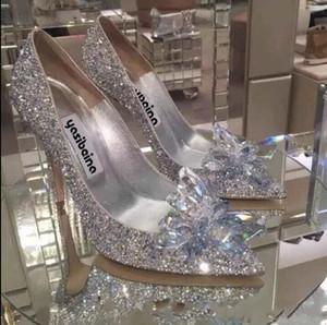 Rot Silber Bling Luxusdesigner Frauen Cinderella Kristallschuhe High Heels Hochzeit Brautschuhe Strass Abend Partei-Abschlussball-Sommer-Schuhe