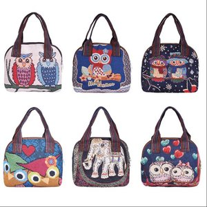2020 New Women Cartoon Canvas Tote Ladies Owl Printing Shopping Bags Feminina Simple Mini Eco Cloth Small Handbags