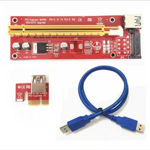 VER 007S Red PCI-E PCI E Express Riser Card 1x to 16x SATA Molex Power Supply + USB 3.0 Data Cable For BTC Miner Machine 50set