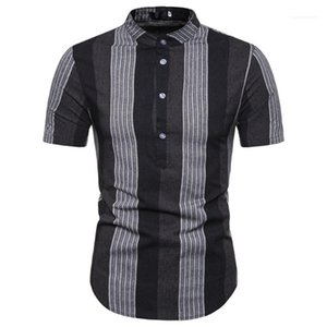 Summer Tees Summer Mens Patchwork Casual Polos Striped Business Brief Tshirts Slim Short Sleeve Lapel Neck Mens