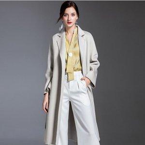 Winter Cashmere Overcoat Water ripple high end over knee Jacket Women Warm pink loose woolen Outerwear Long Ladies Medium Coats