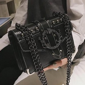 2020 New Quality European Fashion Female Square Bag PU Leather Women's Designer Handbag Rivet Lock Chain Shoulder Messenger bags