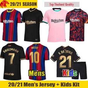 20 21 FC Barcelona Futbol Formaları GRIEZMANN 2020 2021 MESSI Barca F.DE JONG Erkek forması Çocuk Kiti BRAITHWAITE Futbol Gömlek