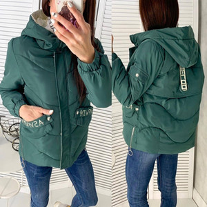 FORERUN Hooded Winter Jacket Women Fashion Letter Printed Solid Female Down Jacket Plus Size Parkas Mujer 2019