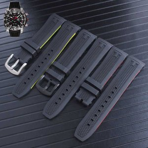 23mm Black Silicone Rubber Watchband Stainless Steel pin Buckle Watch Band for T079.427.27.057.00