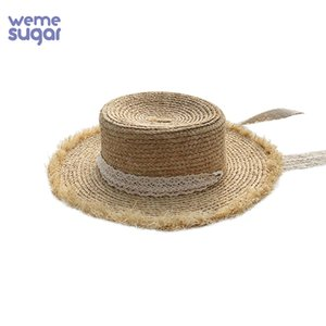 WeMe Verão Wide Corda Brim Boater Hat Flat Top Sun Hats Lace Silk vento Ráfia Hat Menina ao ar livre Chapéus