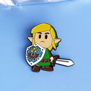 The Legend of Zeldas link Enamel Pin Cartoons Sword Shield Warrior Brooch Action Adventure Game Fan Collectible Badge Jewelry Gift