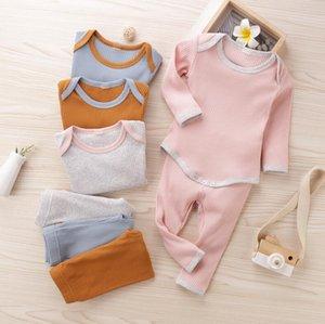 Baby-Designer-Kleidung Sets Langarm Mäntel Hosen Anzüge Rundhalsausschnitt-oberster festen Hosen-Anzug Frühlings-Baby Gril Body Kleidung Set LSK1257