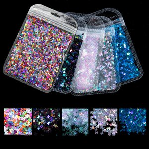 10g Holographic Butterfly Shape Nail Art Glitter Micro Laser Star Flakes 3D Silver Gold Sequins Polish Manicure Nail Decoration