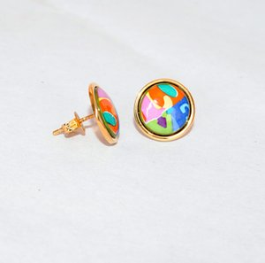 Love Series 18K gold-plated enamel earrings for women Top quality stud earrings with box