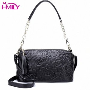 HMILY Genuine Leather Women Handbags Flowers Style Womens Messenger Bag Fashion Ladies Shoulder Bag Real Cowskin Crossbody Effo#