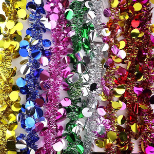 2m Lantejoula Natal Garland Xmas Tree Decoração Tinsel Tiras Supplies Porta parede Bar partido Home Decor casamento aniversário férias