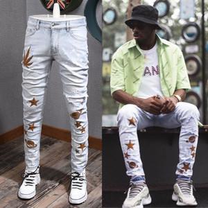 Maple Stella Suede Patch rotto Slim-Fit Jeans Uomo Skinny Leg Plus Size 38 Strappato sbiadisc pantalone bambino