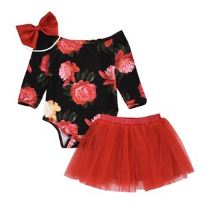 kids clothes girls Flowers outfits infant Floral Print long sleeve off shoulder Tops+Mesh tutu skirts+Bow 3pcs set Autumn baby Clothing Sets