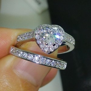 Size 5 6 7 8 9 10 Fashion Jewelry pear cut 10kt white gold filled CZ simulated stones Wedding women Heart ring set gift