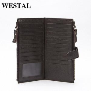 Wholesale WESTAL Genuine Leather Men Standard Wallets Man Double Zipper Wallet Mens Purse Clutch Bag Male Cowhide Leather Wallet 8057 Irys#