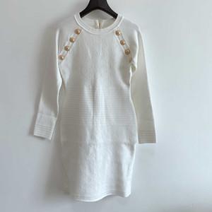 2020 новых женщин Knit Платья Мода Solid Color женщин свитер платье Осень и зима Женщины Длинные рукава платья Размер S-L