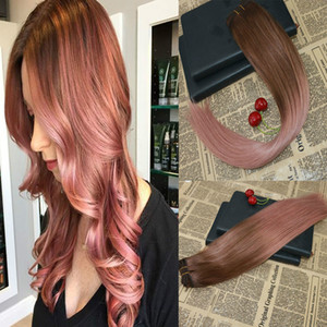Balayage Real Human Hair Weave Rose Gold Virgin Remy Weft Hair Extensions Unprocessed Slik Straight Bundles Omber Hair Extensions
