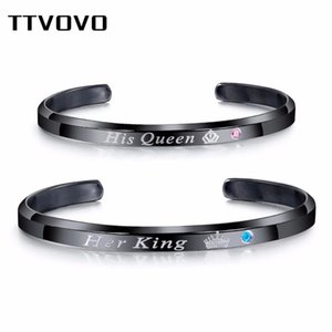 TTVOVO Her King His Queen Couple Lover Wedding Jewelry CZ Stones for Women Men Stainless Steel Bracelets & Bangles