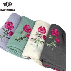 Bufanda larga bordada algodón de las mujeres Bufandas Chales Rose bordado de la flor de la bufanda de muselina viscosa Hijab Foulard Femme