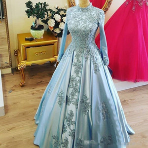 2021 Muslim Long Sleeve Formal Evening Dresses Arabic High Neck Vintage Appliques Beads Light Blue Satin Women Prom Party Gowns AL7104