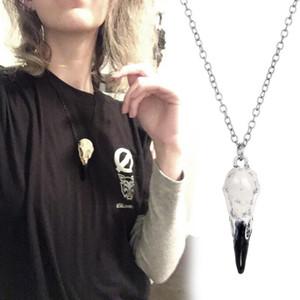 Raven Skull Collier 3D en alliage gothique cadeau Accessoires Halloween Oiseaux Crâne diable Punk Bijoux Pendentif NYZ Boutique