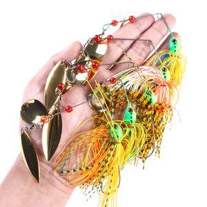Hengjia atacado novas 50pcs Duplo Pedaço Spinners iscas de pesca 14,3g 5 cores 4.7cm 1.7cm SB001