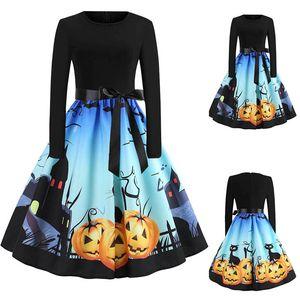 Vintage Dress Women Long Sleeve Pumpkins Housewife Musical Notes Print Halloween Prom Costume Swing Party Dress Halloween N29