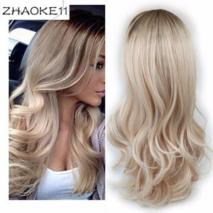Wignee Long 2 Tone Ombre Brown Ash Blonde Temperature Synthetic Wigs For Black White Women Glueless Wavy Daily Cosplay Hair Wig