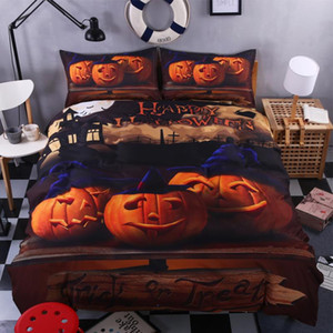Happy halloween Bedding Set for Kids 4PCS Duvet Cover Set Pumpkin Decor Bed Linens Twin Full Queen King Size No Comforter
