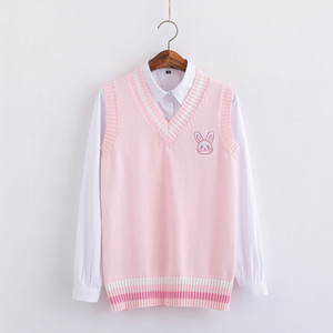 Pink Small rabbit Embroidery pattern Sweater vest high school Japanese-style knitting pullover 200924