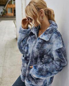 Brasão Tie-dye lapela Neck Cardigan Tie-dye Mulheres Jacket Autumn Blusas Inverno manga comprida casacos casual solta Thick As mulheres Outerwears HHD1156