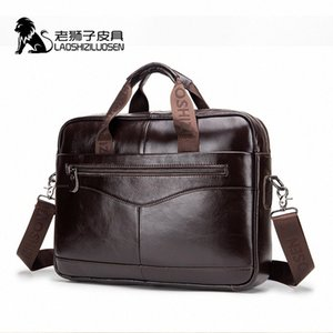 LAOSHIZI LUOSEN Mens Genuine Leather Bag Briefcase Messenger Bag Men Leather Work Bolso Hombre 91504 U8d7#