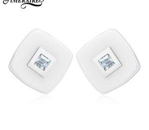 White Elegant Studs Fashion Earrings Ceramics Ear Rings With Zircon For Women Girls Ladies Minimalist Style Wedding Date00