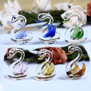 كريستال اليدوية سوان الحرف زجاج حديقة حيوان مصغرة التماثيل الطائر الصغير حلية مصغرة ديكور المنزل هدايا حلية