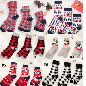 Kids Adult Christmas Socks Santa Claus Elk Print Plaid Stocking Parent-Child Cartoon Sock Autumn Winter 0-6Y Baby Girls Parent Socks D91006
