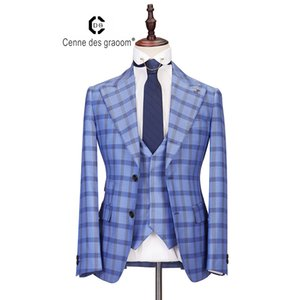 2020 Cenne Des Graoom New Men Suit Plaid Double Breasted 3 Pieces Slim Fit High Quality Blue Wedding Party Costume DG-LOVE LJ200923