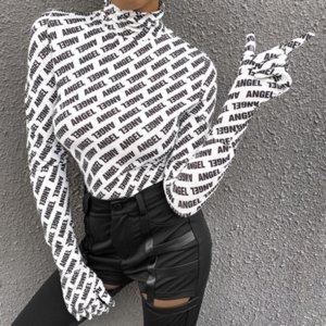 Le donne con cappuccio a maniche lunghe Abbigliamento dolcevita Maglia Top con i guanti lettere stampate camicia autunno-inverno Moda Slim Streetwear LY912